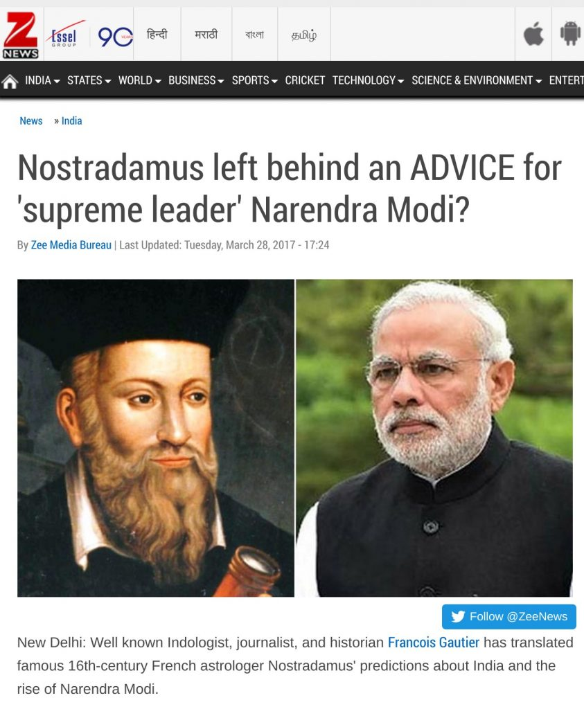 zee news nostradamus left behind an advice