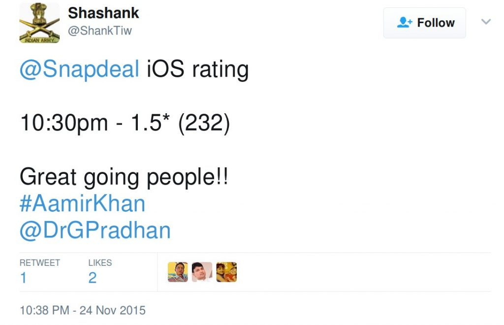 iOS rating of snapdeal being monitored