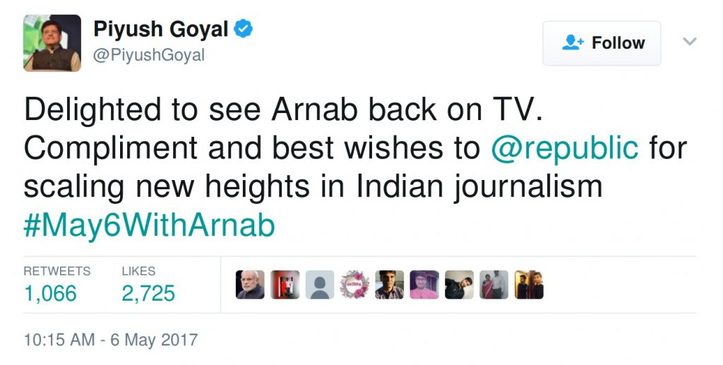 Delighted to see Arnab back on TV. Compliment and best wishes to @republic for scaling new heights in Indian journalism #May6WithArnab