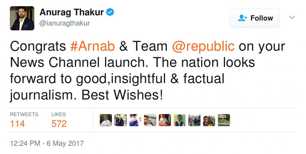 Congrats #Arnab & Team @republic on your News Channel launch. The nation looks forward to good,insightful & factual journalism. Best Wishes!