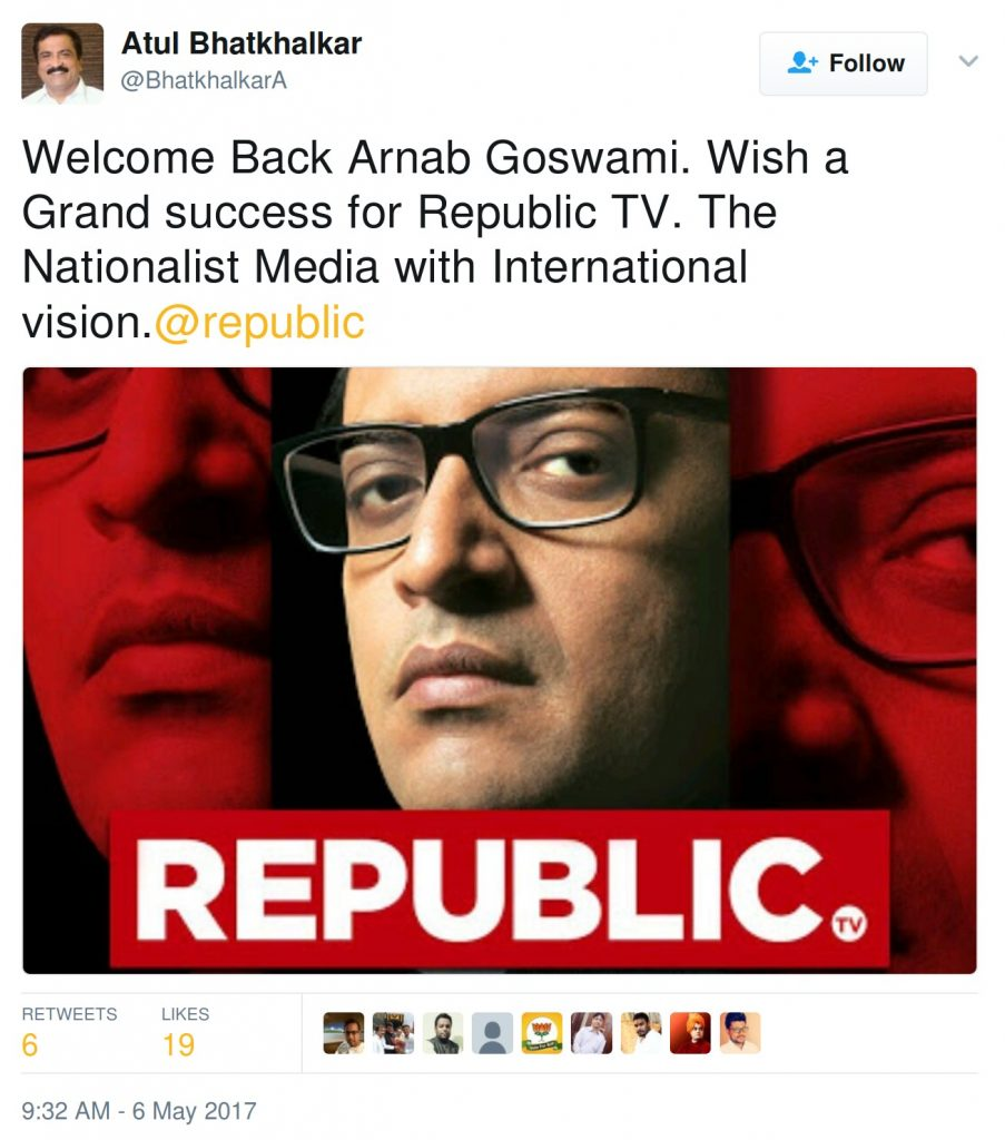 Welcome Back Arnab Goswami. Wish a Grand success for Republic TV. The Nationalist Media with International vision.@republic
