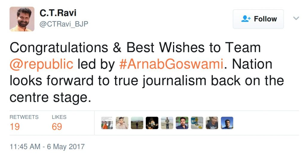 Congratulations & Best Wishes to Team @republic led by #ArnabGoswami. Nation looks forward to true journalism back on the centre stage.