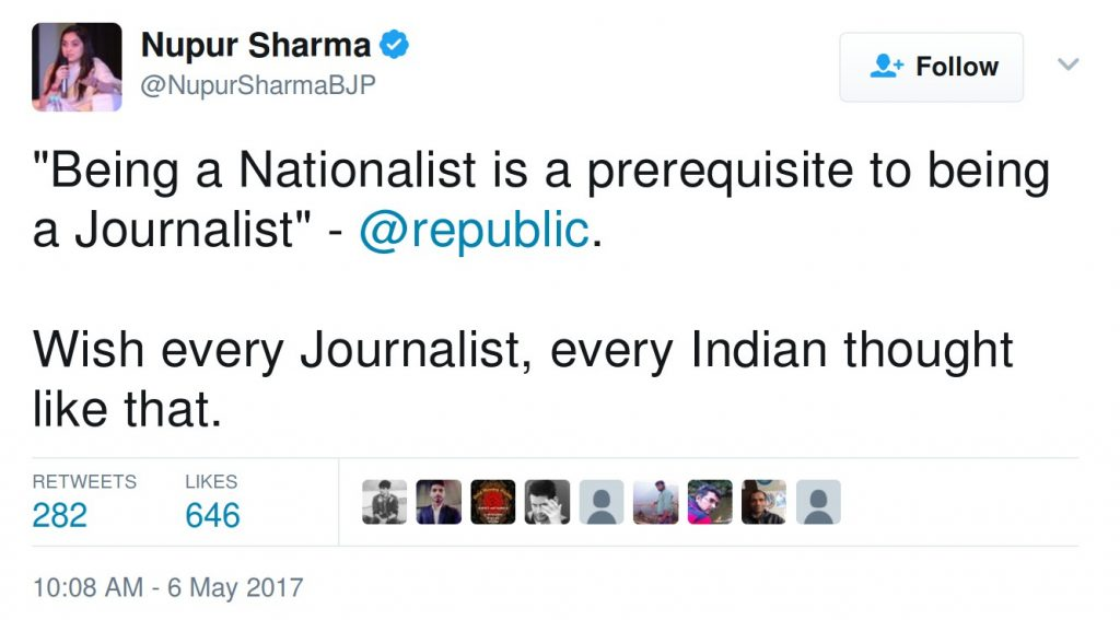 """""""Being a Nationalist is a prerequisite to being a Journalist"""" - @republic. Wish every Journalist, every Indian thought like that."""