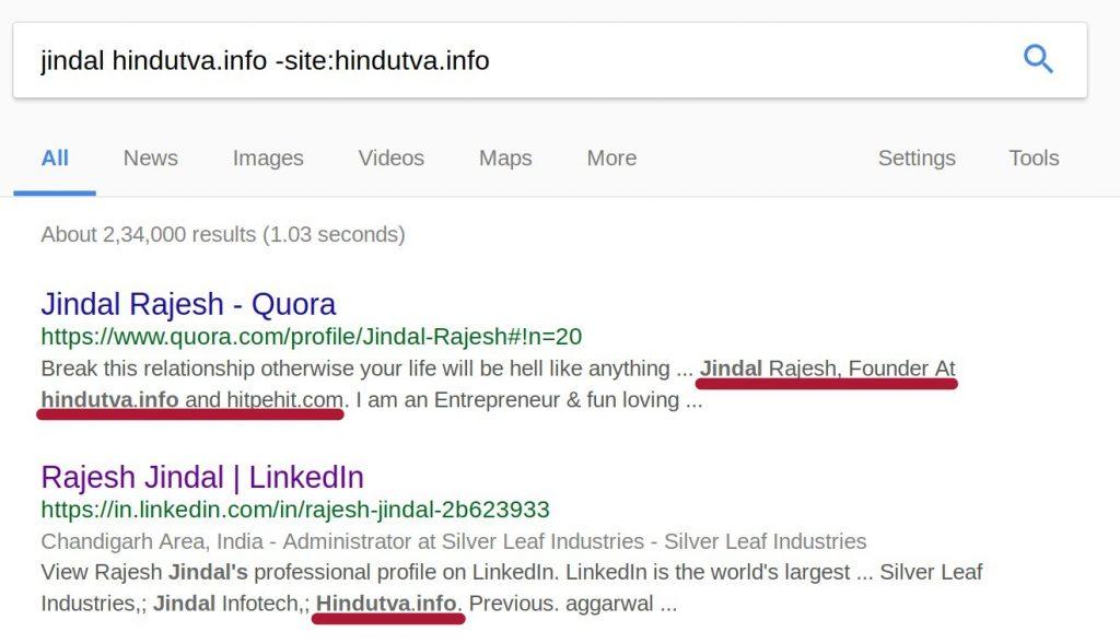 jindal hindutva.info quora linkedin google search