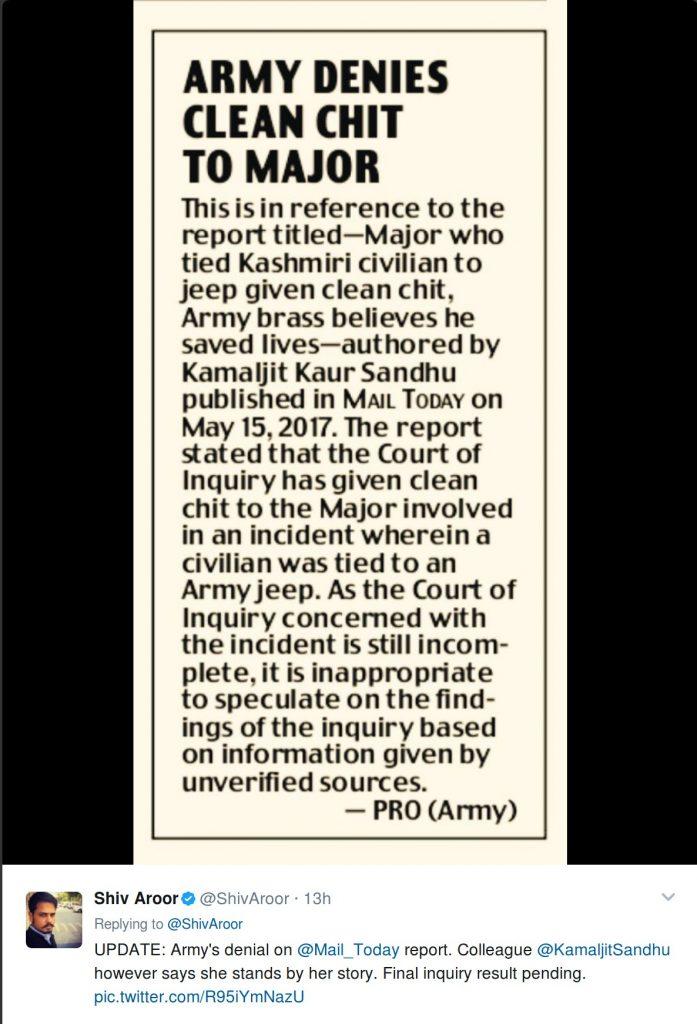 Shiv Aroor's tweet about Army Denial