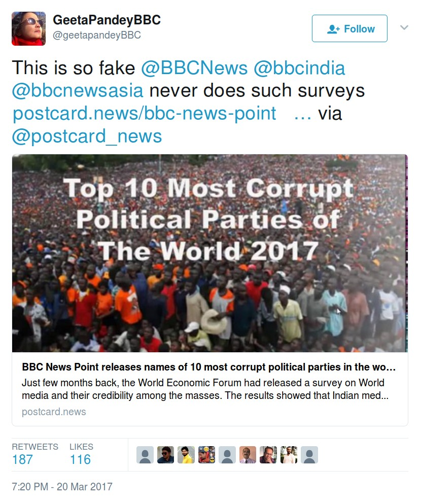 Postcard news fake article 10 most corrupt political parties.