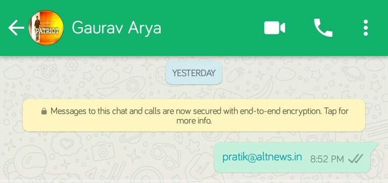 Whatsapp between Pratik Sinha and Gaurav Arya