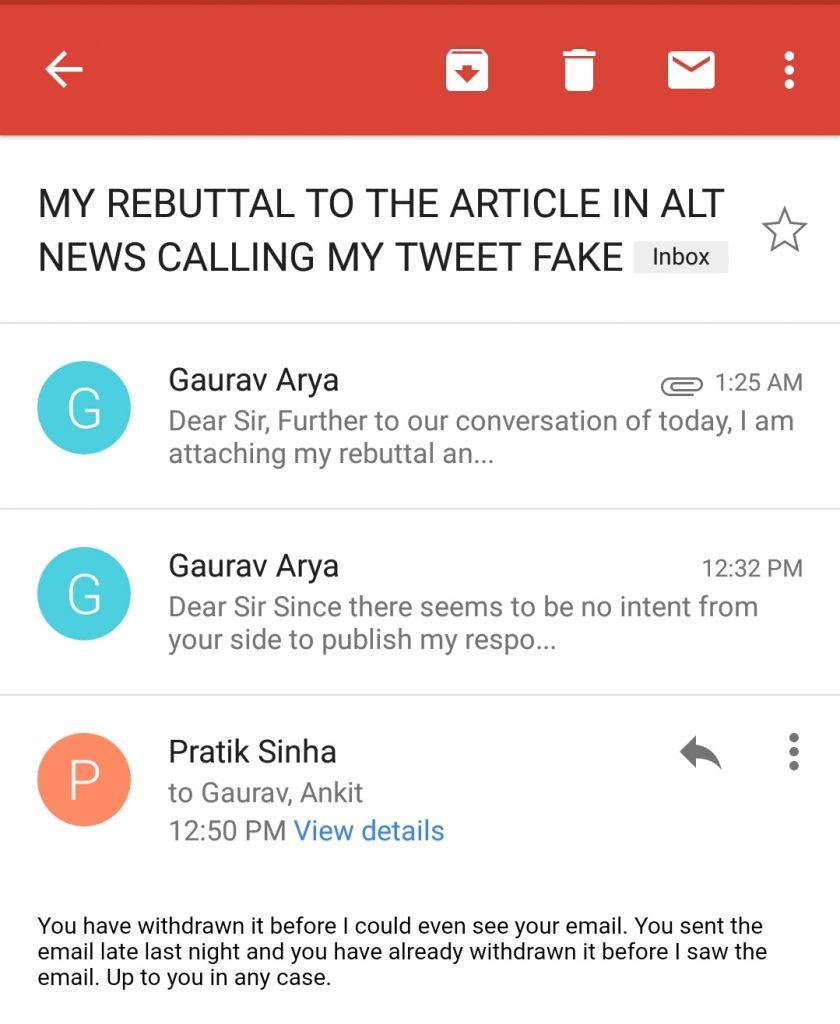 Email exchange between Pratik Sinha and Gaurav Arya