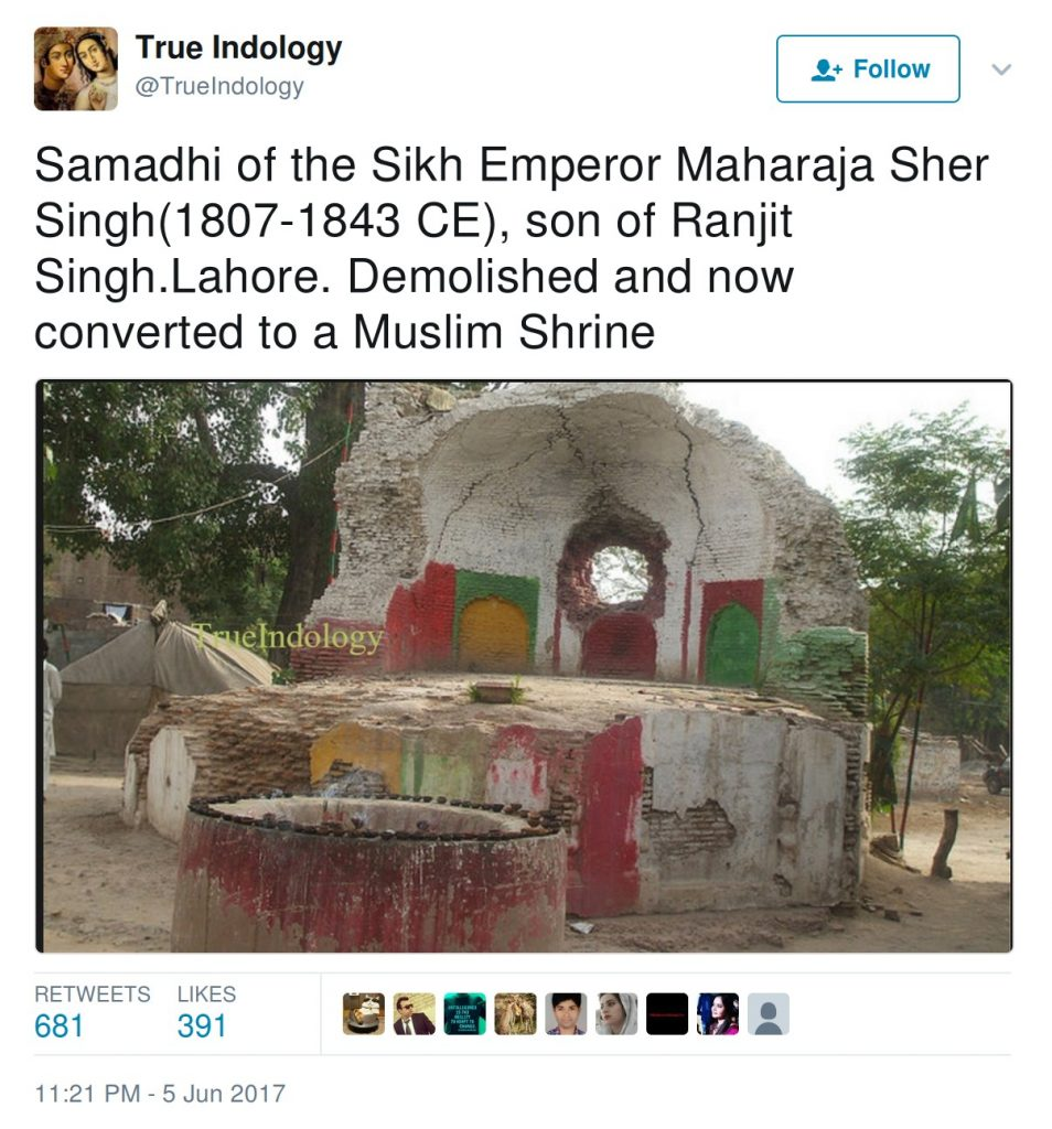 Samadhi of Sikh Emperor Maharaja Sher Singh, son of Ranjit Singh, Lahore, Demolished and now converted to a Muslim Shrine