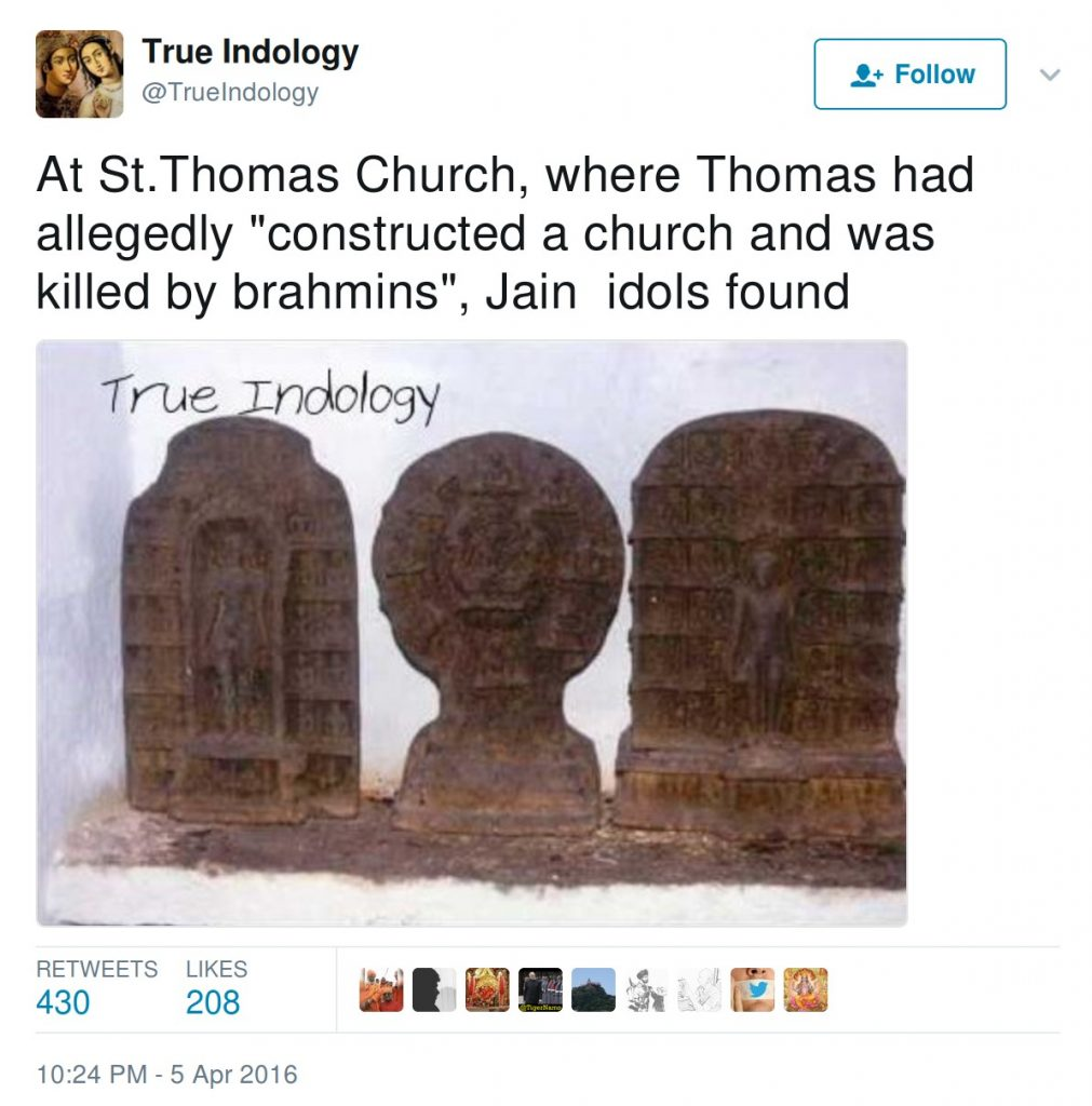 """At St. Thomas Church, where Thomas had allegedly """"contructed a church and was killed by brahmins"""", Jain idols found"""