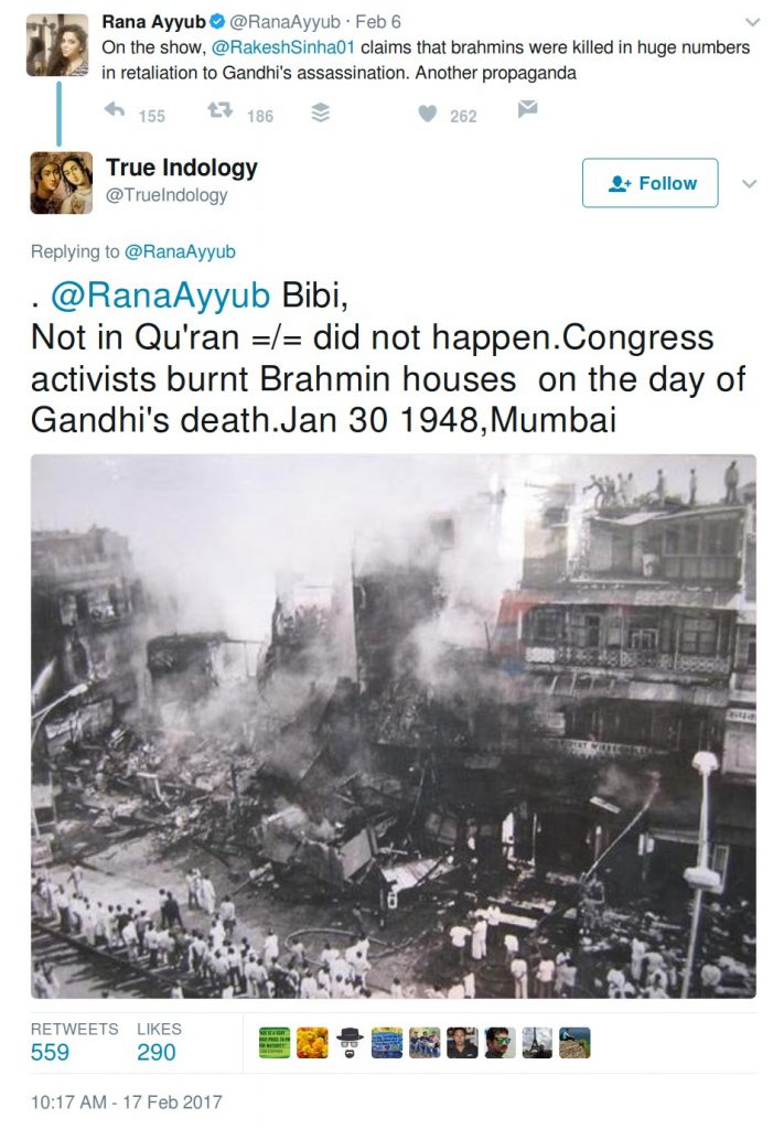 Bibi did not happen congress activists burnt brahmin houses on the day of Gandhi's death