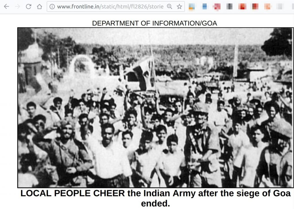 Local People cheer the Indian Army after the siege of Goa ended