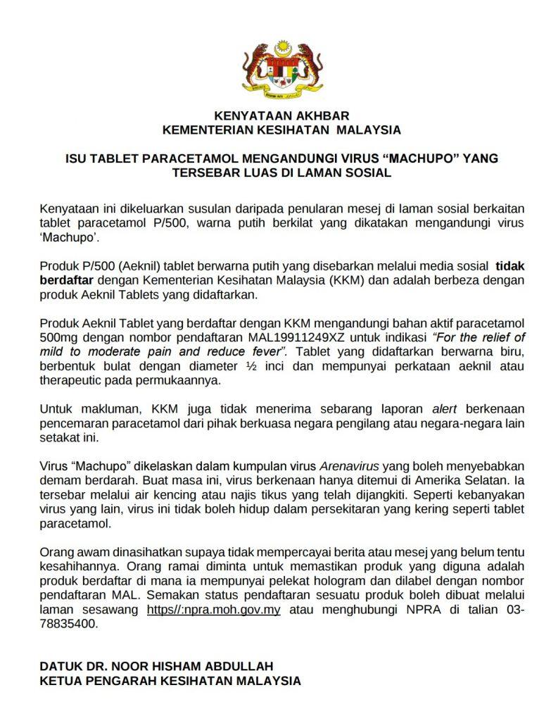 Malaysian Govt Machupo Virus P-500 Paracetamol