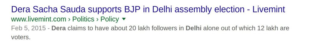 Dera Sacha Sauda supports BJP in Delhi Assembly Election