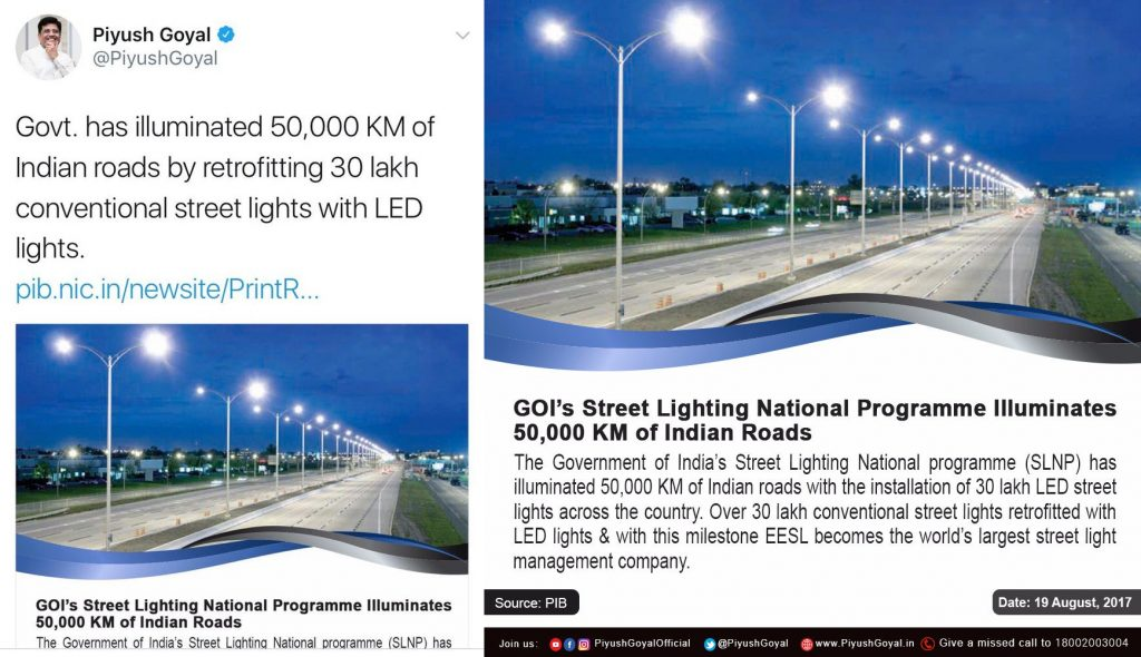 Piyush Goyal tweets led lights
