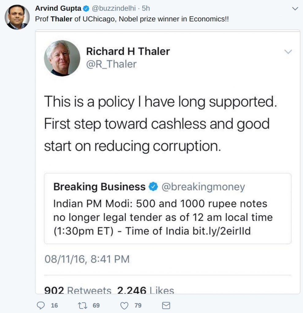Arvind Gupta Richard Thaler tweet