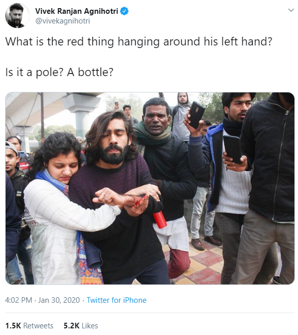 Jamia firing, conspiracy theories and doubts raise about the red bottle in injured students hand ends